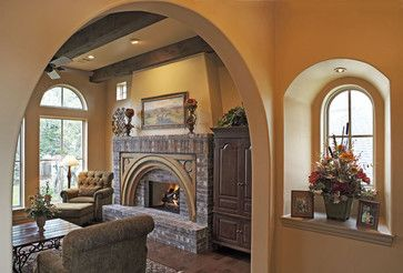 Raised Hearth Design Ideas, Pictures, Remodel and Decor -- I like how the flue continues above the mantel