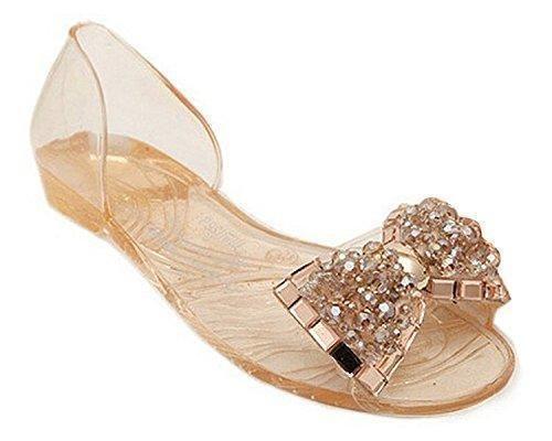 Oferta: 3.9€. Comprar Ofertas de Mine Tom Mujer Sandalias De Verano Zapatos De La Jalea Bling Pajarita El Sandalias De Playa Casual Peep Toe Zapatos Dorado A barato. ¡Mira las ofertas!