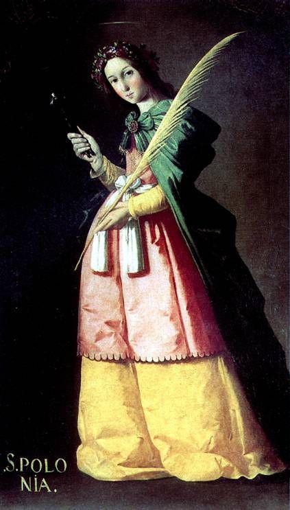 СУРБАРАН ФРАНСИСКО ДЕ. Св. Аполлония.   Фуэнте-де-Кантос, 1598 — Мадрид, 1664   Холст, 134 х 67 см. Приобретена в 1867 г. у наследников маршала Соулта.