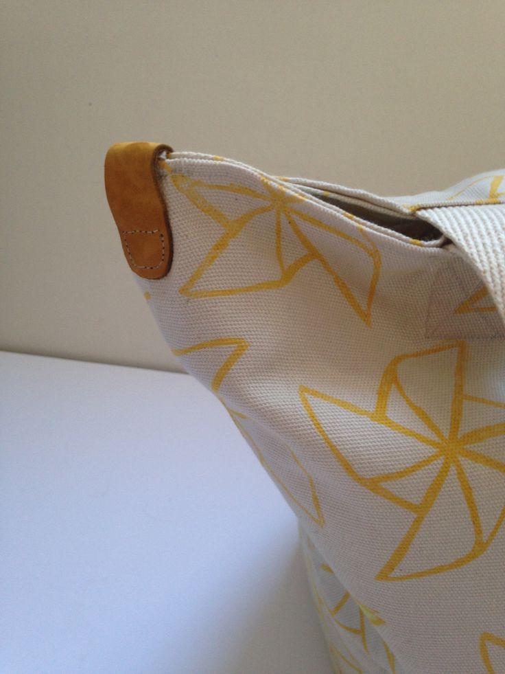 Hepphabit block printed canvas tote bag - windmill