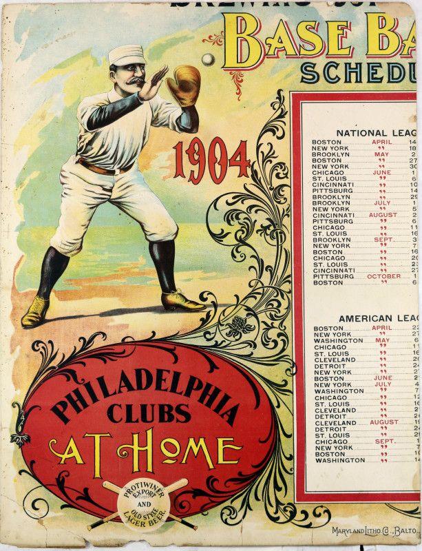 VINTAGE-1904-PHILADELPHIA-PHILLIES-ORIGINAL-16X20-BASEBALL-SCHEDULE