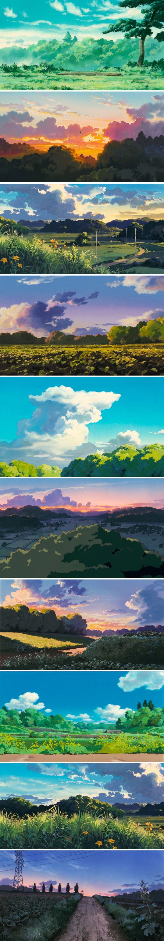 Cloud Strewn Skies Of My Neighbor Totoro - Art Director Kazuo Oga (1988)