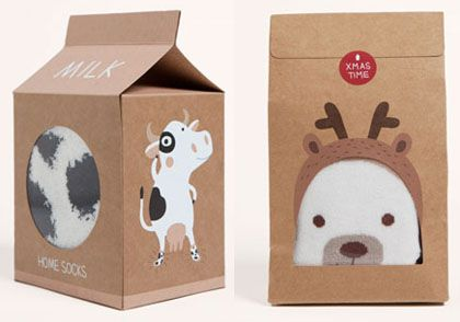 milk carton packaging for socks. unusual but kinda cute.