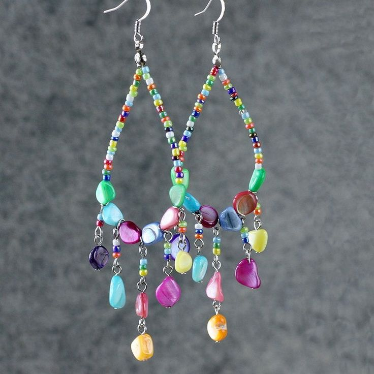 Hoop earrings loop drop shell chandelier long dangle handmade jewelry. $12.95, via Etsy.