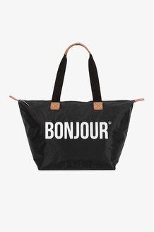 Schwarzer Shopper mit ''Bonjour''-Print - Official TallyWeijl Store