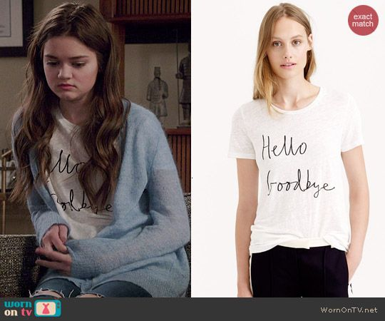 Emma's 'Hello Goodbye' tee on Red Band Society.  Outfit Details: http://wornontv.net/45414/ #RedBandSociety