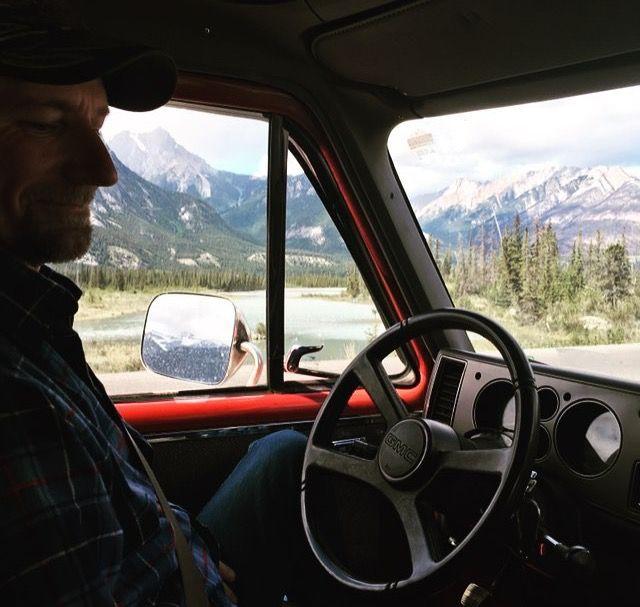 Pops taking his turn driving through the Jasper B.C.