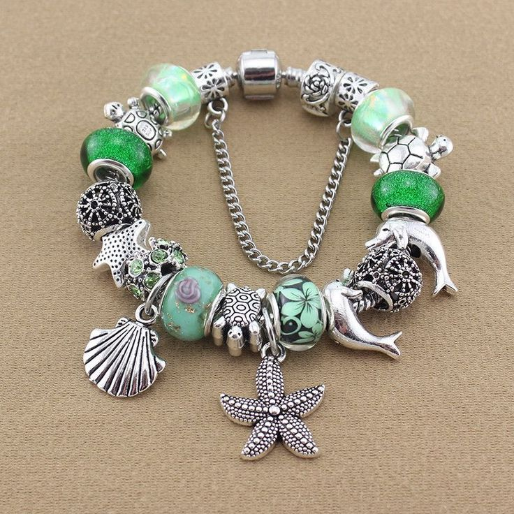 Green Sea Turtle Bracelet/Dolphin/Starfish