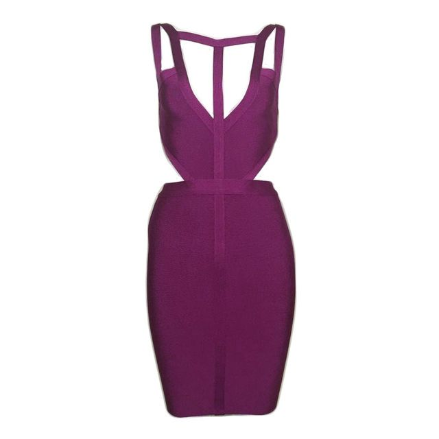 Bevencel 2017 new summer dress purple Sleeveless off shoulder strapy bodycon bandage dress club dresses vestidos party dress