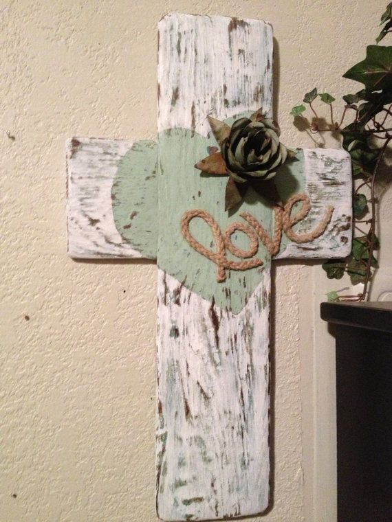 SOLD----Shabby Chic wood cross handmade from reclaimed wood with a cottage beach look in aqua & white