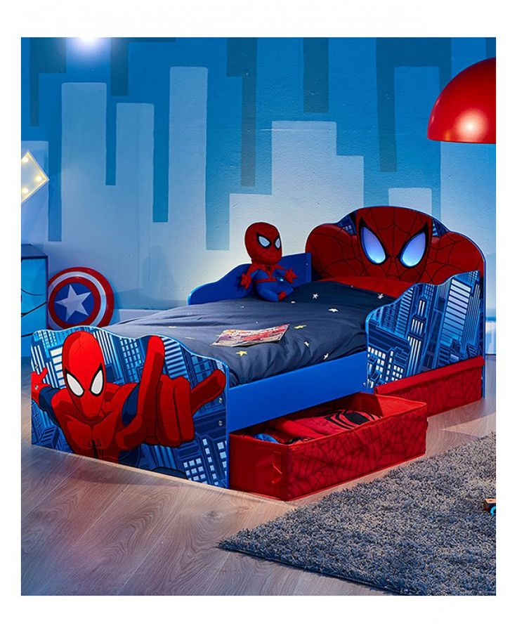 This Spiderman Toddler Bed with Storage and Light Up Eyes is available with three mattress options and free next day UK mainland delivery.