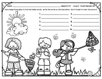 My sweet students love using magnifying glasses to find words that are hidden in pictures.  I hope your sweet students enjoy it too!There are 2 versions included in this download so that you may choose the font size that is best for your class.(The hidden words are: boat, road, coach, goat, roast, foam, load, loaf, toad, & coat.)So, just grab a magnifying glass and have fun searching!Thanks!Learning With A Smile___________________Keywords:  Hidden Words, Long O, Vowel Digraph OA, Magnify...