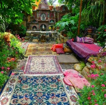 Moroccan Outdoor Patio, Rugs, Sofa, Couch, Garden. I Love This.