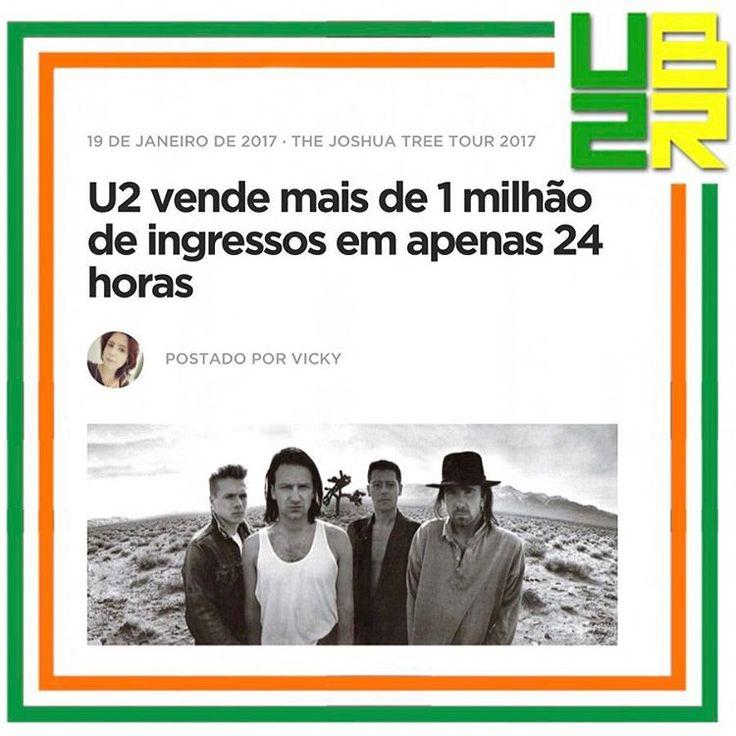 . De acordo com a Live Nation, mais de 1 milhão de ingressos foram vendidos em apenas um dia para a nova turnê da banda, que já a torna uma das mais bem sucedidas em vendas de todos os tempos.  A partir do momento no qual o U2 anunciou que sairia em turnê para comemorar o trigésimo aniversário do seu álbum The Joshua Tree, já era sinônimo da certeza de um enorme sucesso, mas poucos apostariam no quão incrível seria a resposta dada pelos fãs. Leia mais em: U2BR.com 📍link na BIO. . #U2BR  #U2…