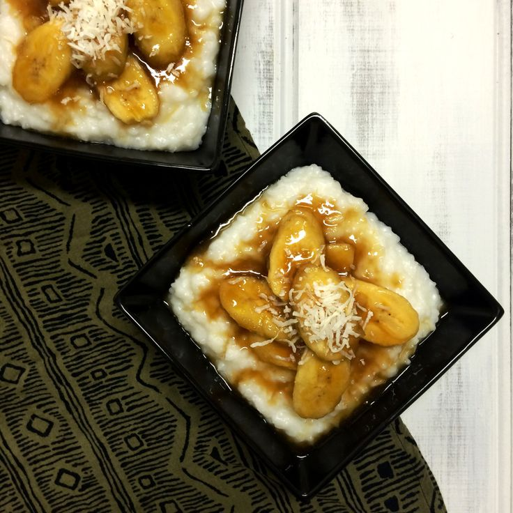 Coconut Rice Pudding with Caramelised Bananas - Shine Dining