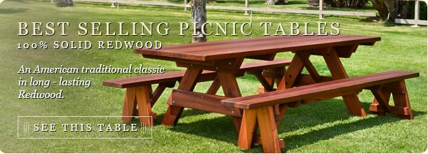 OUTDOOR WOOD PICNIC TABLE KITS HANDCRAFTED FROM REDWOOD ONLY THE BEST WOOD  AND LOTS OF IT We Make Tables That Are Built To Last, And Our Wood Picu2026
