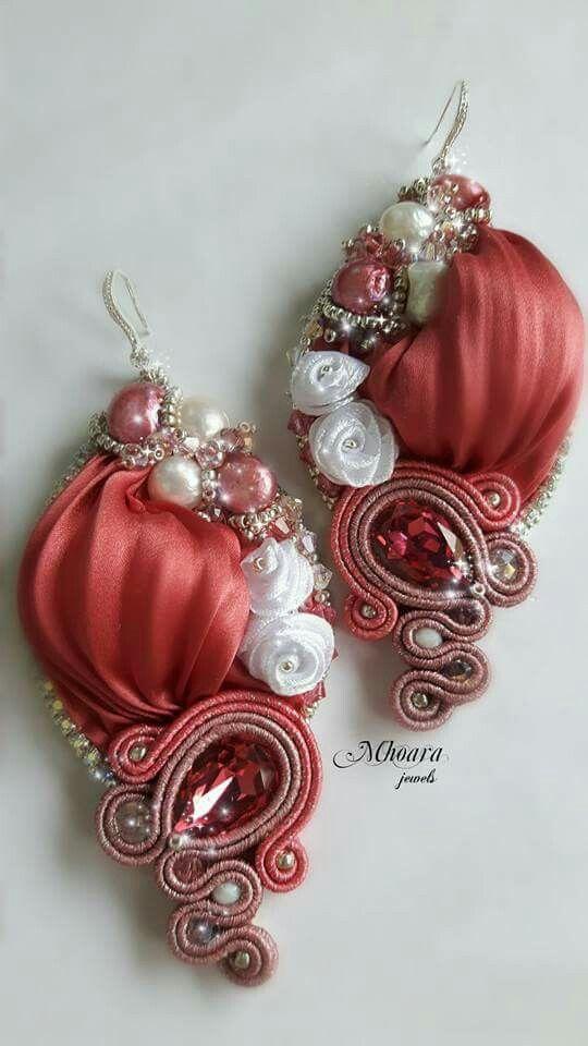 ' Antique Pink ' earrings . Shibori silk and soutache designed by Mhoara Jewels