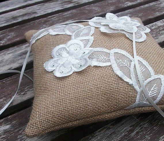 Lace Applique on Burlap pillow - ring bearer pillow.