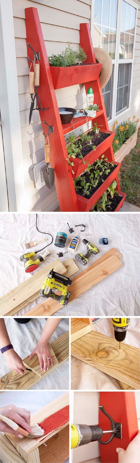 Bring a little style to your home's exterior with this adorable DIY planter box ladder from Liberty Hardware. This easy tutorial used a coat of BEHR Exterior Paint in Moroccan Ruby for a pop of bright color. Get started on this fun outdoor yard decoration now so that when spring comes you'll be ready to fill your yard with tons of colorful flowers.
