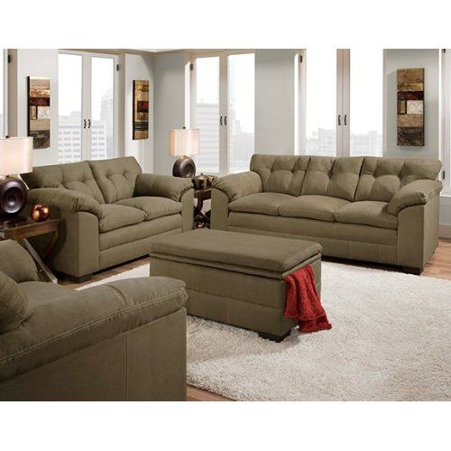 Velocity Sage Green Fabric Sofa And Loveseat Set   The Simmons Velocity Sage  Microfiber Sofa And