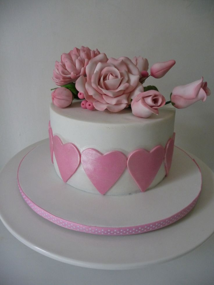 Pink Hearts and Flowers celebration cake