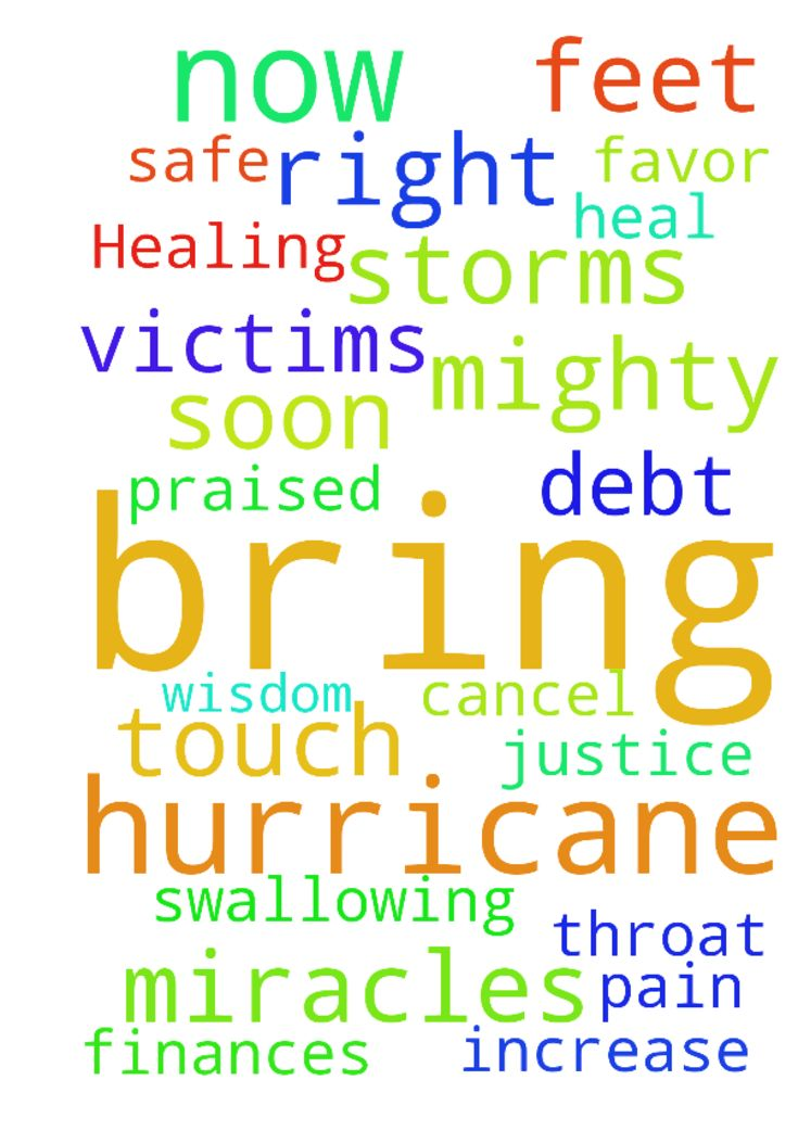 Need Healing and miracles for us and hurricane victims now -  Please Lord touch and heal us totally throat swallowing and remove this Pain to my feet. Bring wisdom favor and justice Soon Please with the right help to bring victory. Cancel this debt and increase finances. I pray for all those to be safe in the path of the hurricanes earthquakes and the storms and you dismantlethem now. Please help us all mercifulLord, protect us all and loved ones under Your mighty miraculous blood You are…