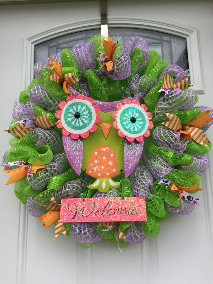 Green And Purple Owl Deco Mesh Wreath