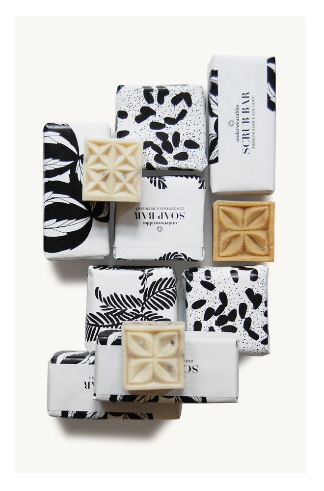 Black and white packaging. Love the mixed prints - great inspiration for wedding invites and paper goods!
