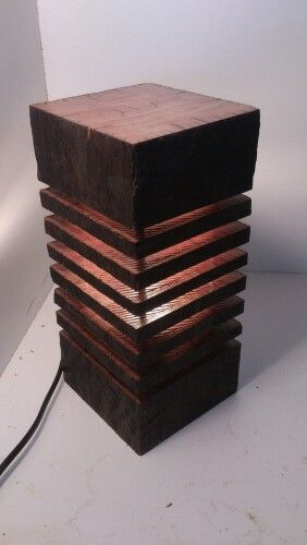 Spotted gum table lamp 125 by 120mm 260mm tall
