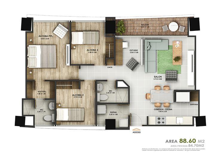 Resultado de imagen para apartamento de 60m2 casa p a for Casa minimalista 60m2