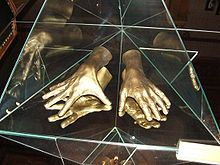 Arthur Rubinstein A cast of the pianist's hands, at the Łódź museum