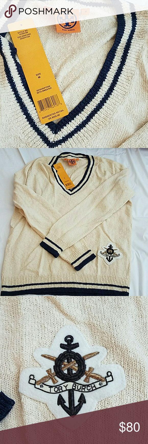 Tory Burch nautical/collegiate sweater NWT NWT