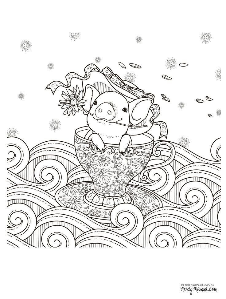 Pig In A Teacuop Coloring Page For Adults Kleuren Voor Volwassenen Farbung Fur Erwachsene Coloriage Pour