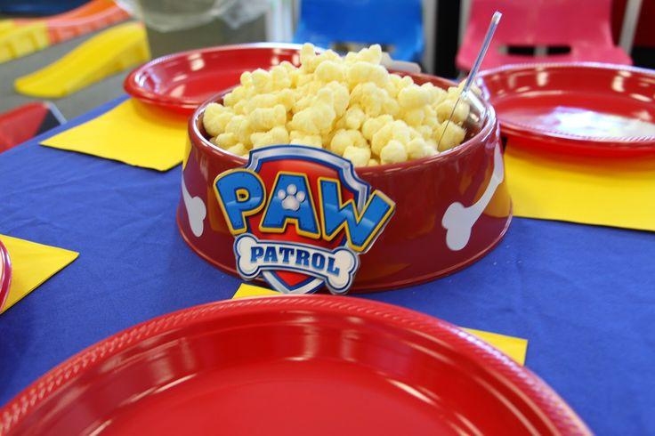 Paw Patrol Paw-ty decorations dog bowl centerpieces with snacks