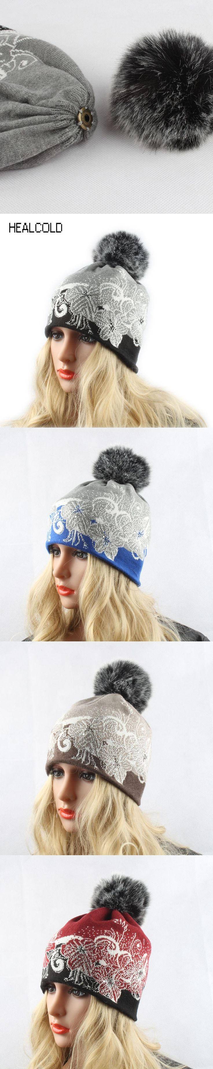 Women Winter Rabbit Fur Hats Ladies Knitted Wool Beanies Faux Fur Pompom Hat Warm Casual Beanie Cap Skullies