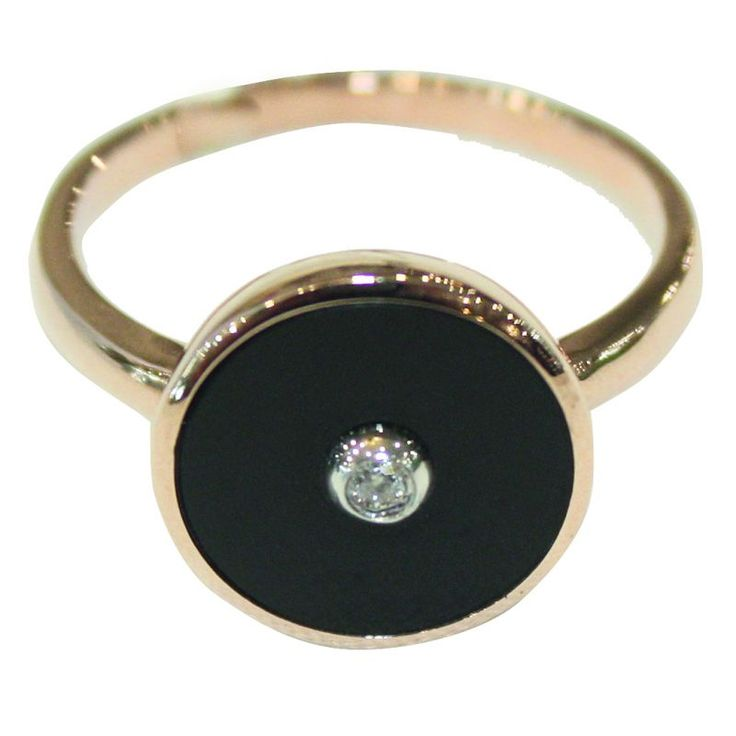 9ct Rose Gold Onyx And Diamond Ring