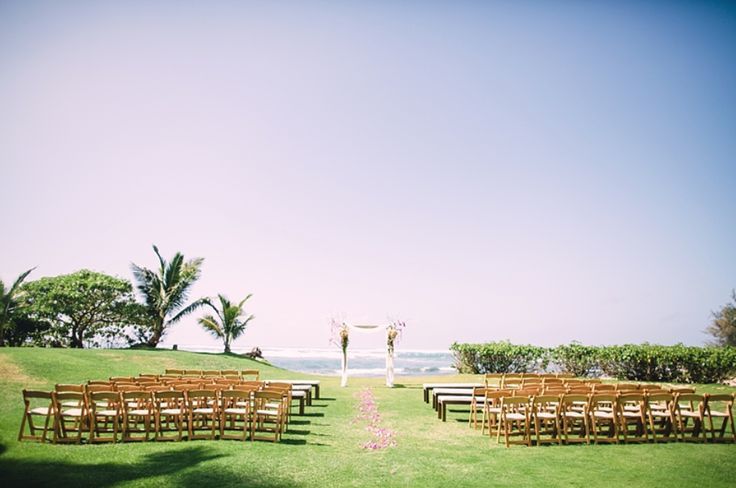 Natural Folding Chairs at the Ceremony (Loulu Palm Estate)
