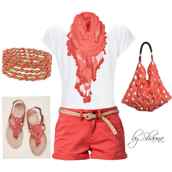 Summer OutfitSummer Fashion, Coral, Fashion Ideas, Summer Style, Colors, Cute Summer Outfit, Shorts, Summer Clothing, Dreams Closets