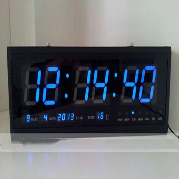 Grande Moderno LED Digital Reloj De Pared Fecha Temperatura 24 ó 12 Hora Oficina | eBay