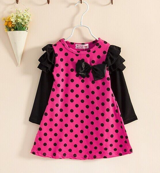 Pink and Black Polka Dots Full Sleeves Girls Dress / Frock from Urban Buy