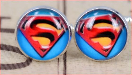 These round cufflinks show the superman symbol and colours - very elegant but fun and quirky - great for grooms or his groomsmen  gift  See also our other superman cufflinks  Come in black cufflink box -
