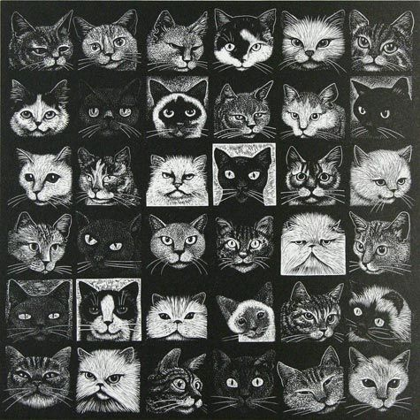 Hilary Paynter. Another Cat Show. Wood engraving.