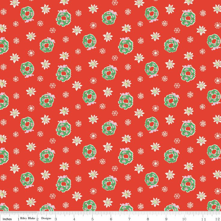 Floral Wreaths Red  - Cotton