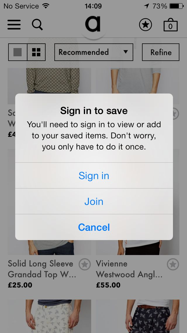 Asos - sign in to save