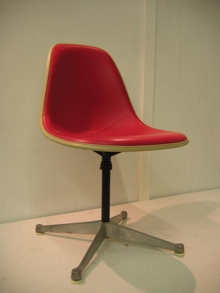 vintage herman miller hot pink vinyl eames swivel office chair EAMES Pinterest