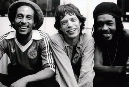 Bob Marley, Mick Jagger and Peter Tosh by Michael Putland #HouseofMarley #LiveMarley #BobMarley http://www.thehouseofmarley.com/
