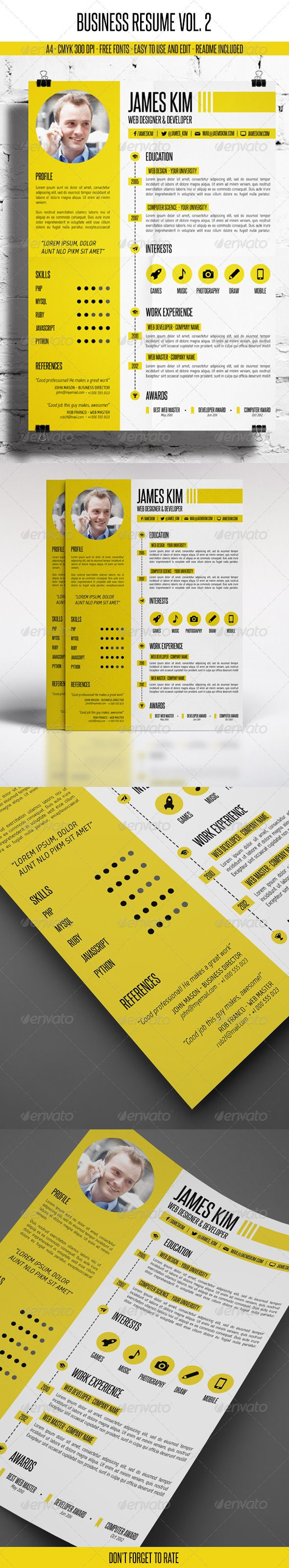 Business Resume Vol. 2 — Photoshop PSD #light #yellow • Available here → https://graphicriver.net/item/business-resume-vol-2/7248807?ref=pxcr