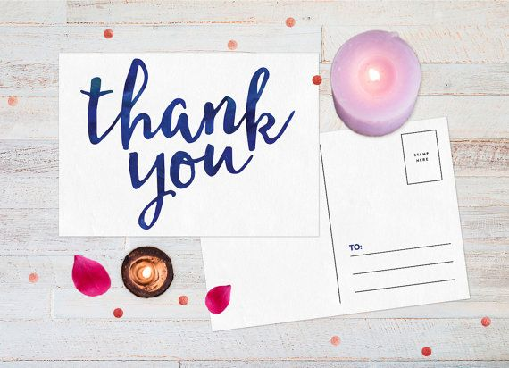 "Blue watercolour ""Thank you"" cards, DIY printable"