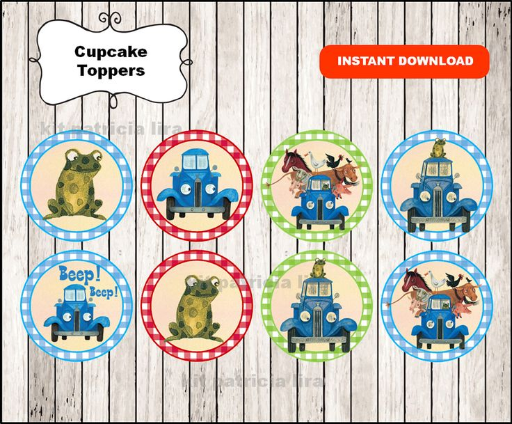 Little Blue Truck toppers instant download , Little Blue Truck cupcakes toppers labels, Printable Little Blue Truck party toppers by kitpatricialira on Etsy https://www.etsy.com/listing/493097079/little-blue-truck-toppers-instant
