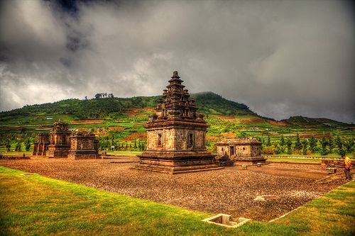 Indonesia - Java - Dieng Plateau.Visiting a temple complex on the Dieng Plateau.